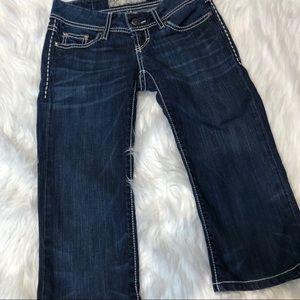 BKE Starlite denim crop pants size 24 blue low